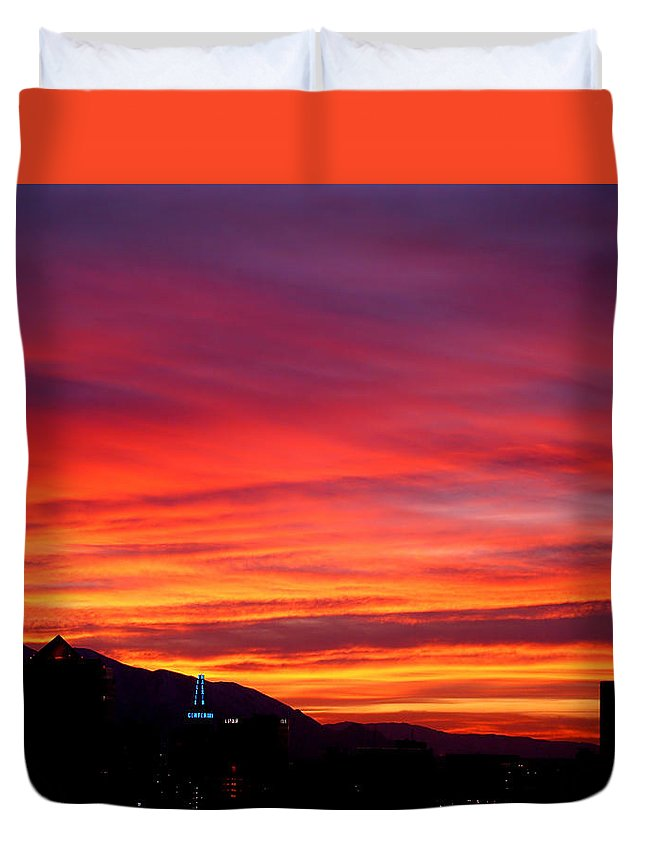 Salt Lake City Duvet Cover featuring the photograph Fiery Sunset by Rona Black