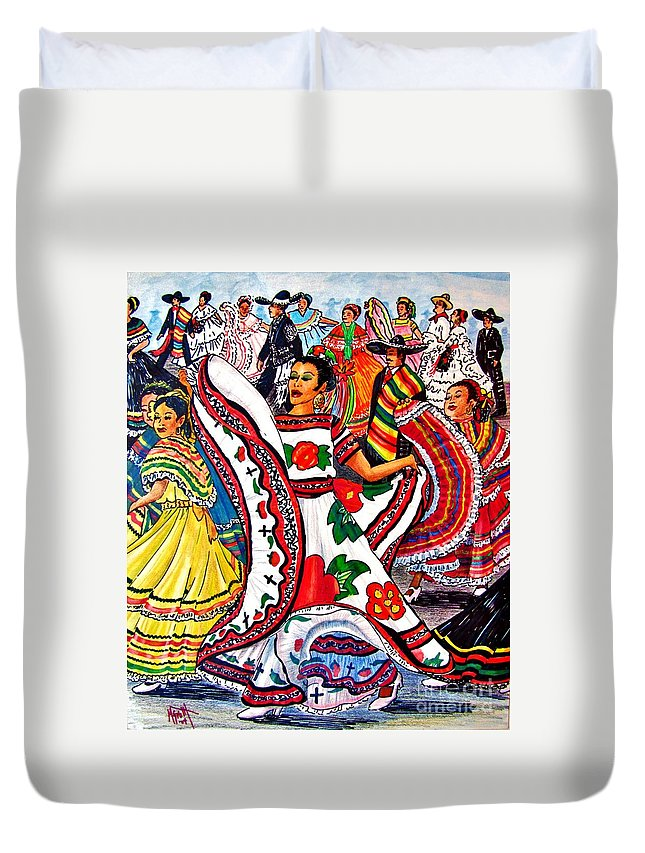 Spanish Dance Duvet Cover featuring the drawing Fiesta Parade by Marilyn Smith