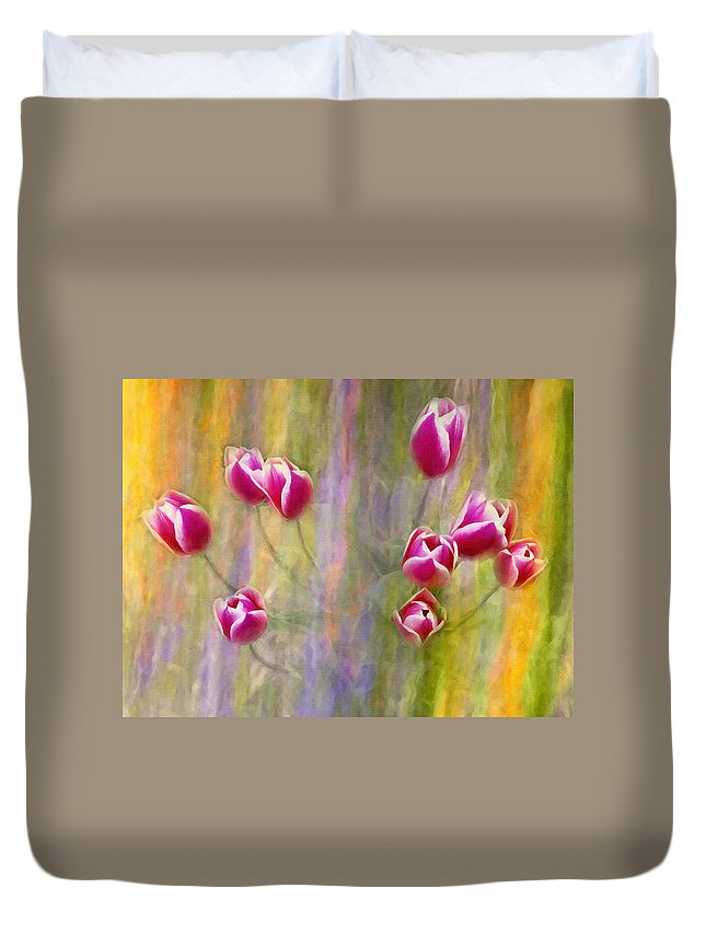 Tulip Duvet Cover featuring the photograph Fiesta Tulips by Sharon M Connolly