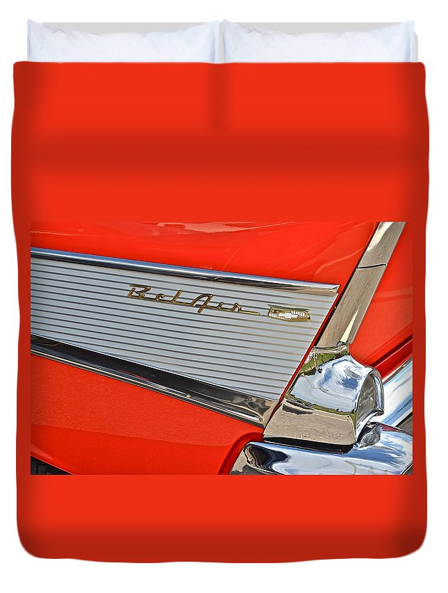 Buick Duvet Cover featuring the photograph Fifty Seven Chevy Bel Air by Frozen in Time Fine Art Photography