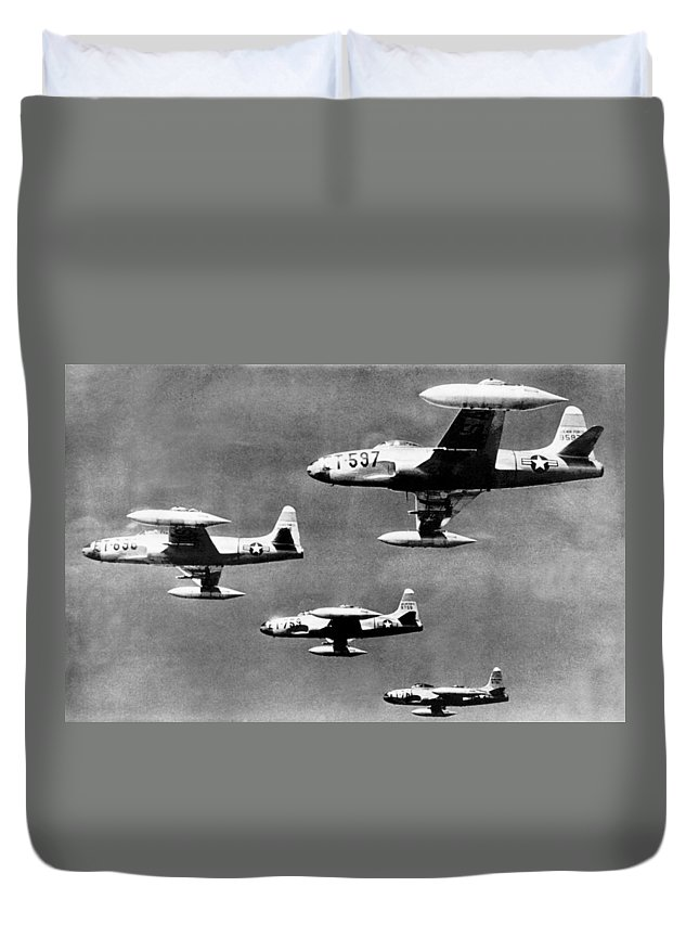 1940s Duvet Cover featuring the photograph Fighter Jet Against Communists by David Douglas Duncan
