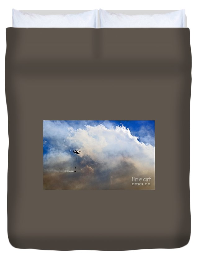Fire Duvet Cover featuring the photograph Fighting Fire by Andrea Goodrich