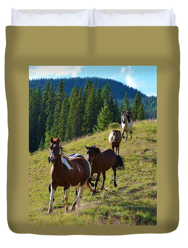 Horse Duvet Cover featuring the photograph Finally Free by Gary Mosman