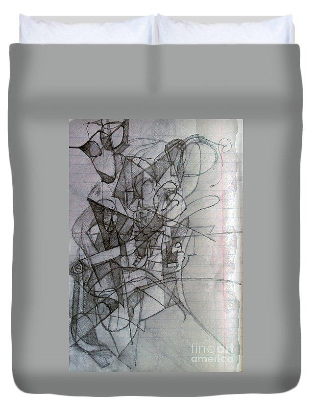 Torah Duvet Cover featuring the drawing Finding Meaning Despite Appearances 2 by David Baruch Wolk