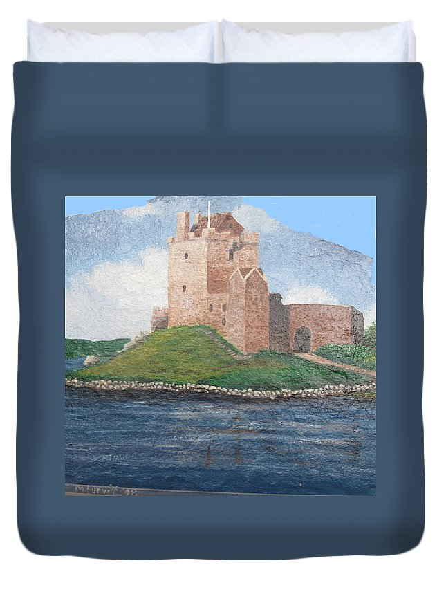 Castle Duvet Cover featuring the painting Fine Irish Castle by Barbara McDevitt