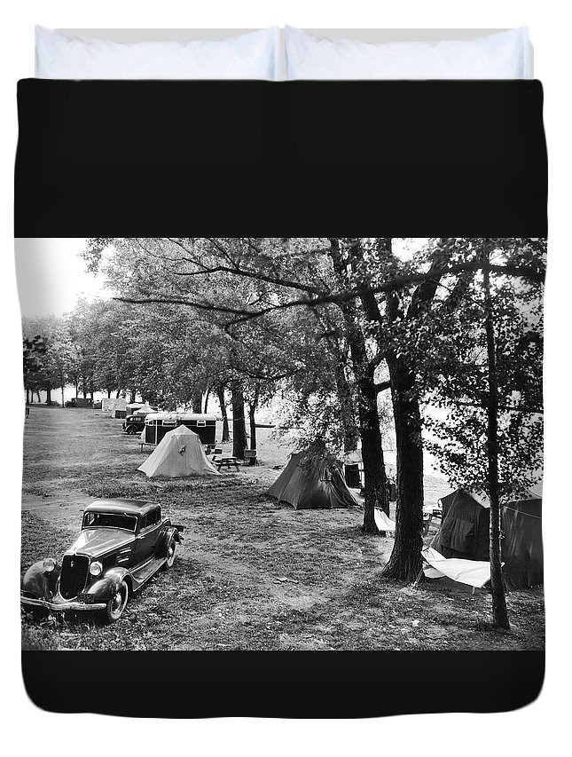 1920s Duvet Cover featuring the photograph Finger Lakes Camping by Underwood Archives