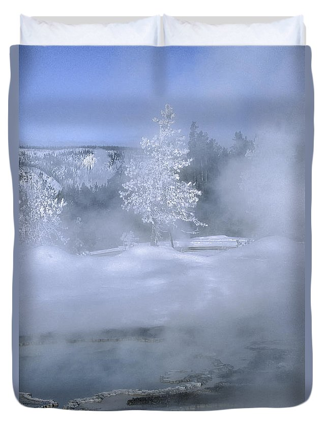 Yellowstone Duvet Cover featuring the photograph Fire And Ice II - Yellowstone by Sandra Bronstein