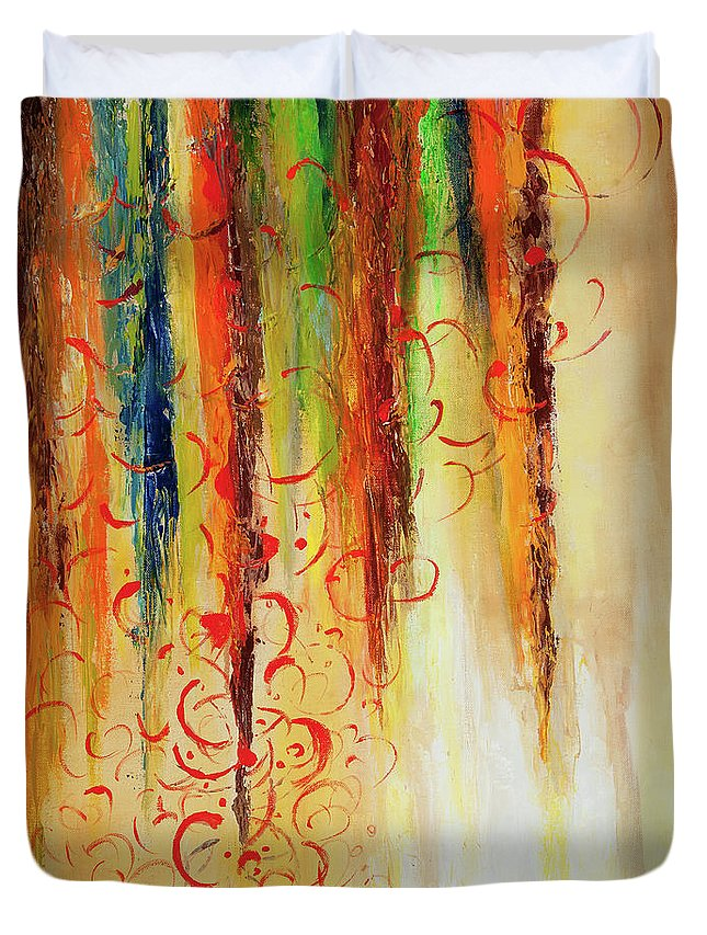 Fire Duvet Cover featuring the painting Fire And Rain by Larry Martin