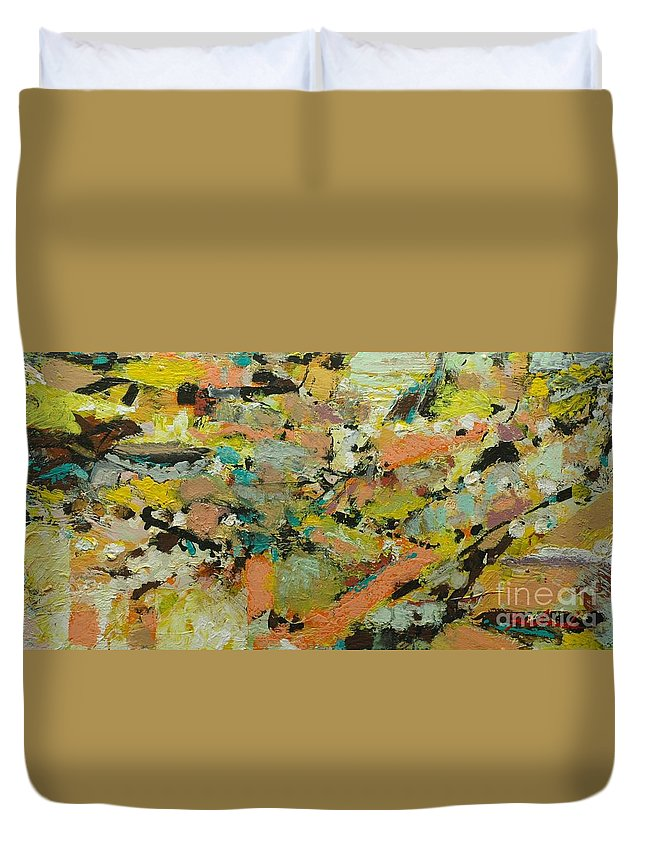 Landscape Duvet Cover featuring the painting Fire Bird by Allan P Friedlander