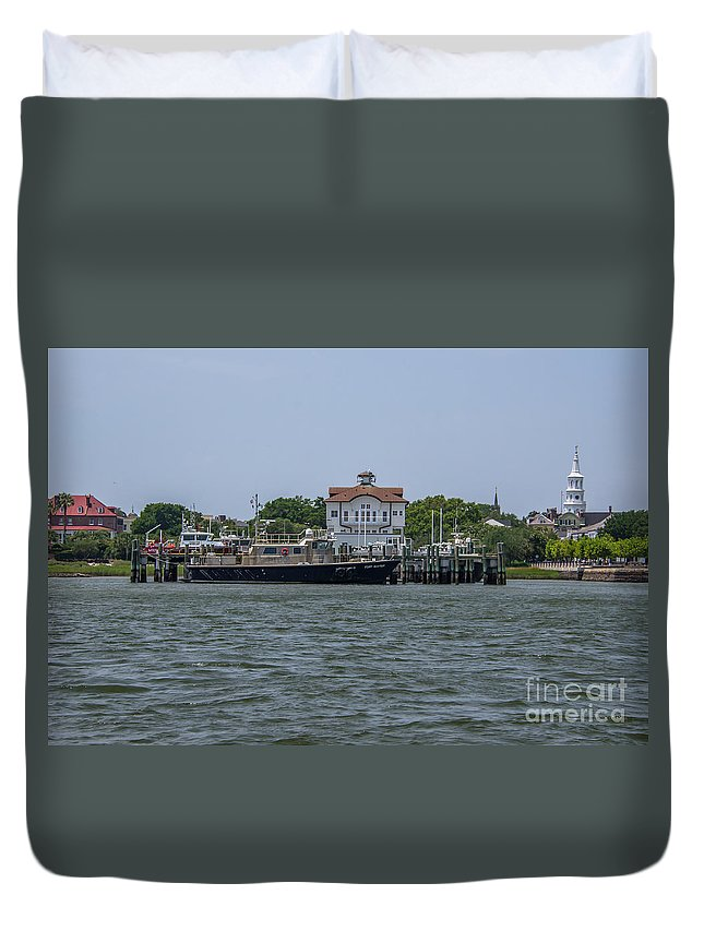 Fort Sumter Pilot Boat Duvet Cover featuring the photograph Fort Sumter Pilot by Dale Powell