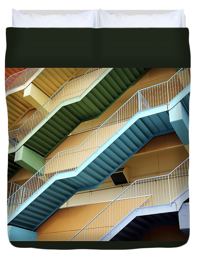 Steps Duvet Cover featuring the photograph Fire Escape Stairs by Akiyoko