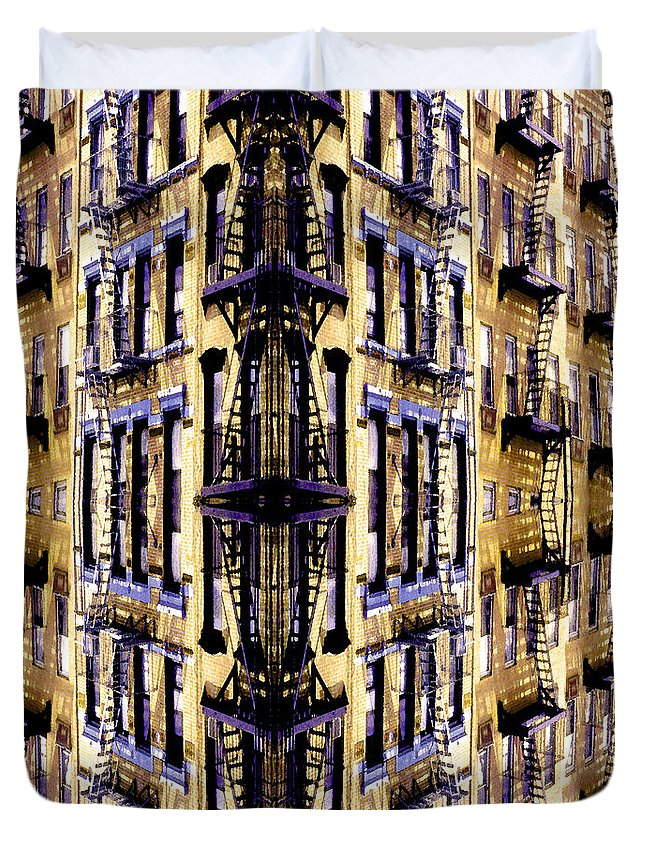 Abstract Duvet Cover featuring the photograph Fire Escapes - New York City by Linda Parker