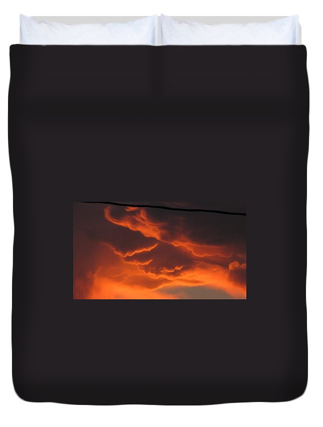 Clouds Duvet Cover featuring the photograph Fire In The Sky by Beth Vincent