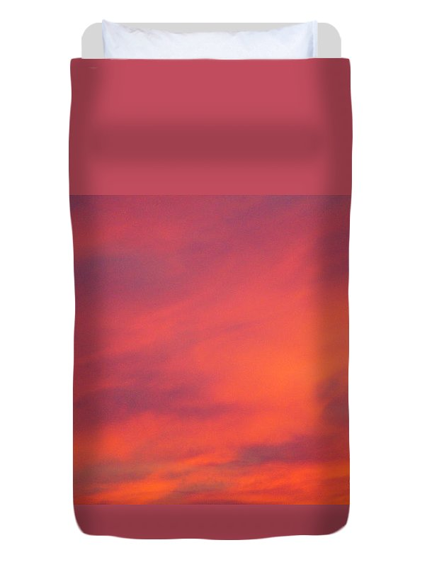 Sunset Duvet Cover featuring the photograph Fire In The Sky by Jeffery L Bowers
