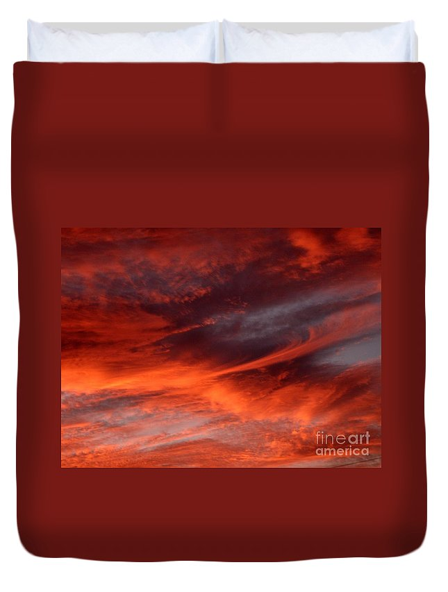 Sunset Duvet Cover featuring the photograph Fire in the Sky by Julia Walsh