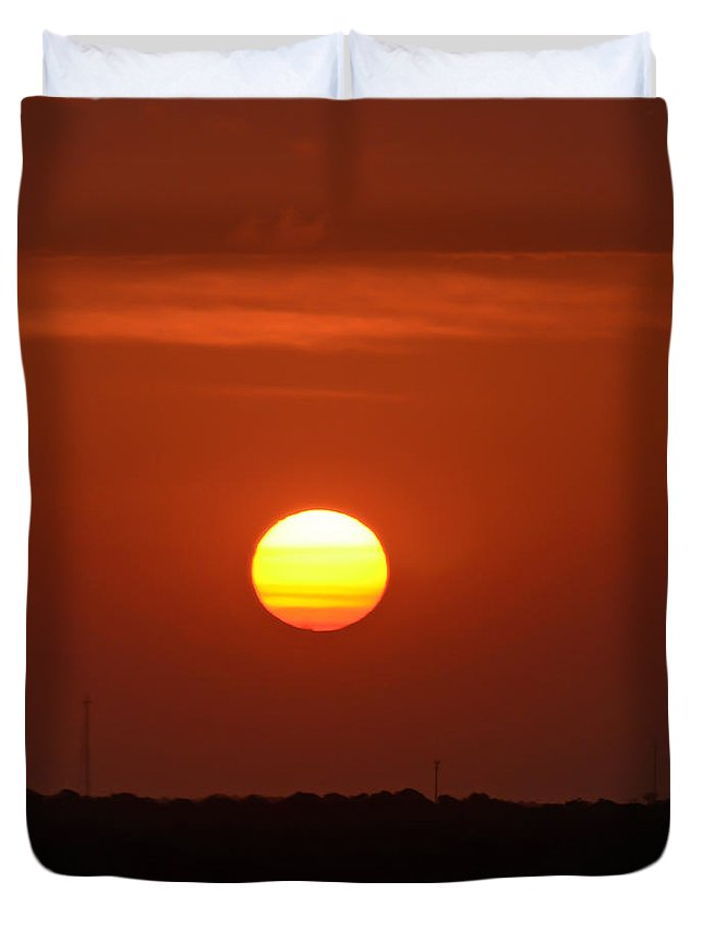 Sunrise Duvet Cover featuring the photograph Fire In The Sky by Kerri Farley