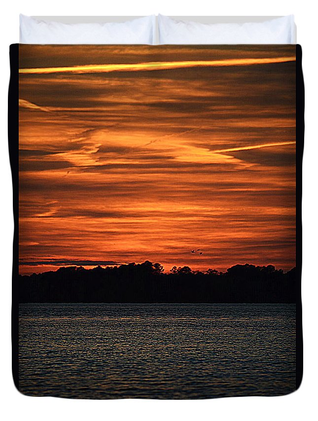 Sunsets Duvet Cover featuring the photograph Fire In The Sky by Lisa Wooten