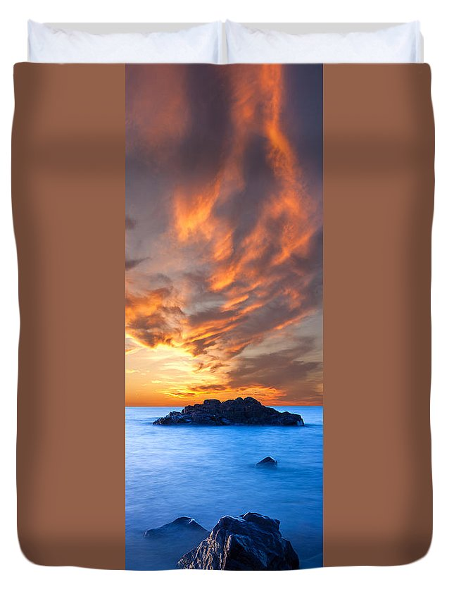 Sunset Duvet Cover featuring the photograph Fire In The Sky by Tim Trombley