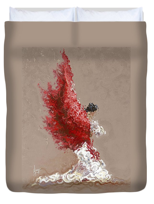 Dance Duvet Cover featuring the painting Fire by Karina Llergo