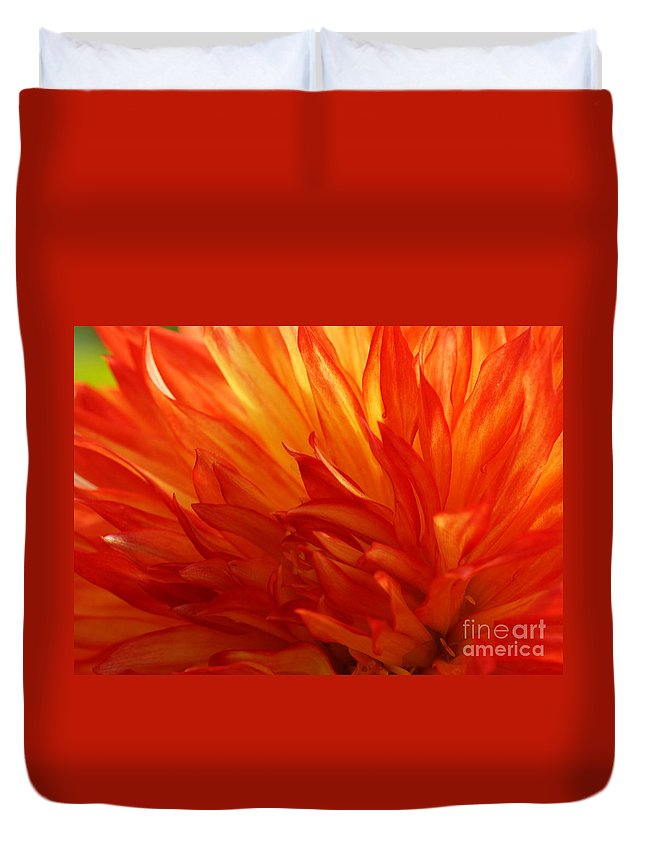 Flora Duvet Cover featuring the photograph Fire Of A Dahlia by Rudi Prott