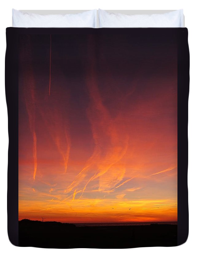 Beach Duvet Cover featuring the photograph Fire Sky by Stephen Willmer