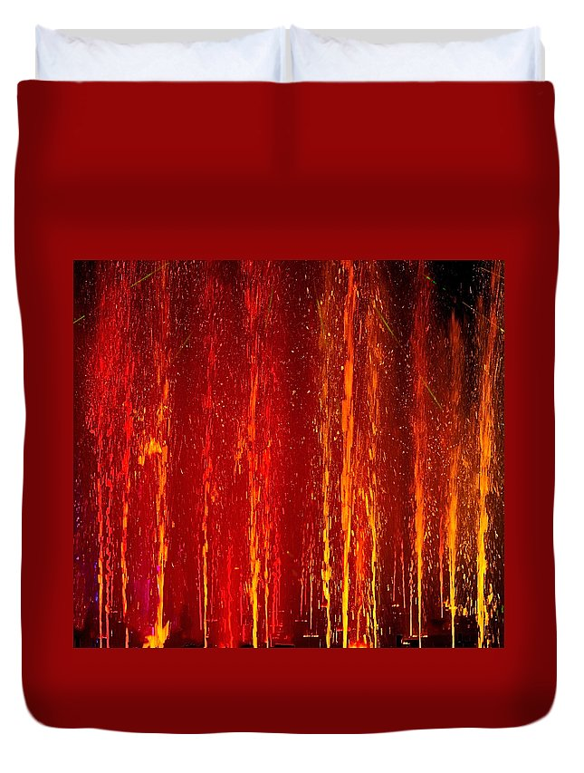 Abstract Duvet Cover featuring the photograph Fire Water by Denise Dube