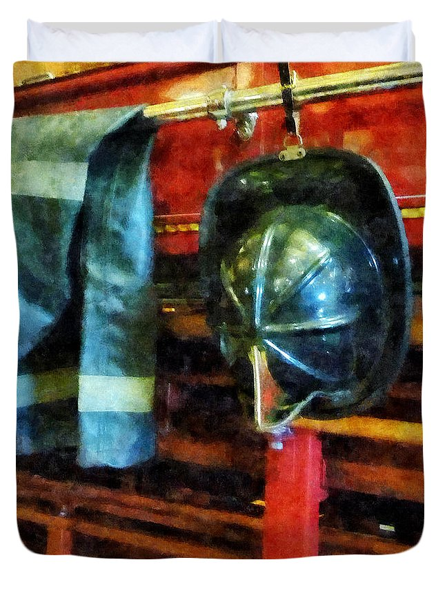 Firefighters Duvet Cover featuring the photograph Fireman - Fireman's Helmet And Jacket by Susan Savad