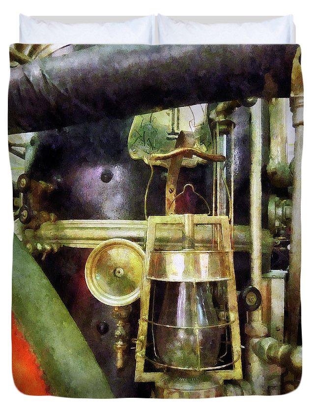 Lantern Duvet Cover featuring the photograph Fireman - Lantern On Fire Truck by Susan Savad