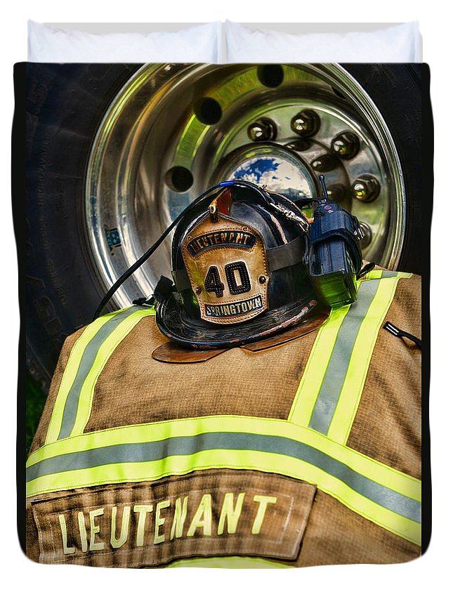 Paul Ward Duvet Cover featuring the photograph Fireman Turnout Gear Lieutenant by Paul Ward