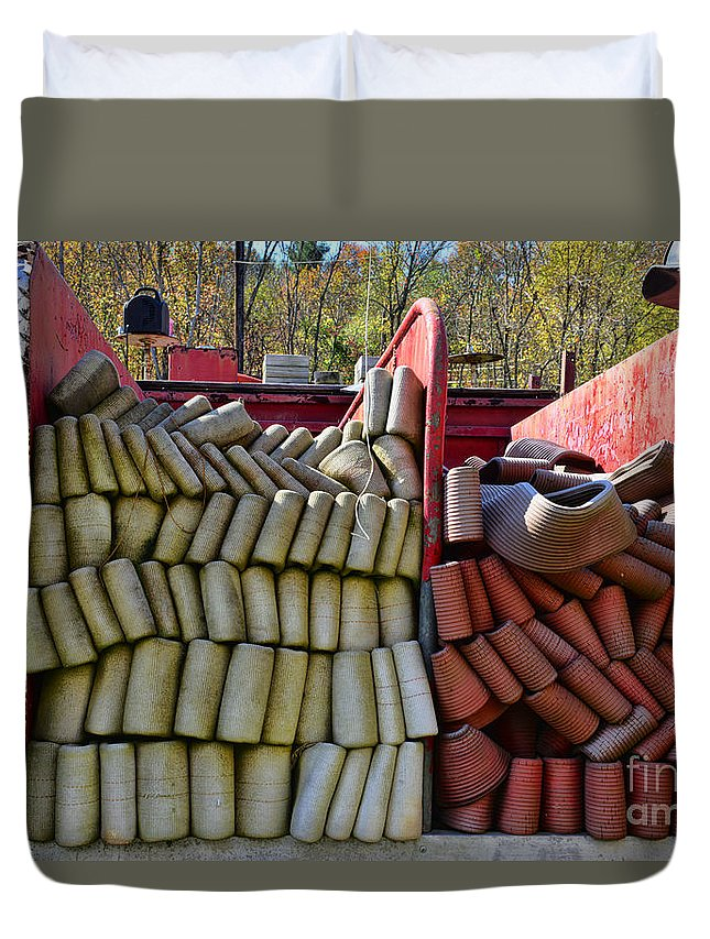 Paul Ward Duvet Cover featuring the photograph Fireman Vintage Hoses by Paul Ward