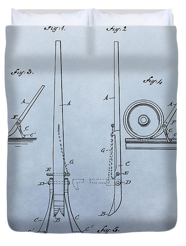 Fireman's Tool Patent Duvet Cover featuring the digital art Fireman's Tool Patent by Dan Sproul