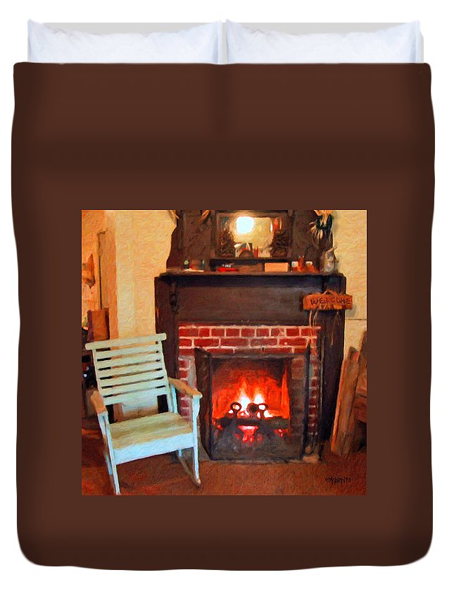 Hearth Duvet Cover featuring the photograph The Family Hearth - Fireplace Old Rocking Chair by Rebecca Korpita