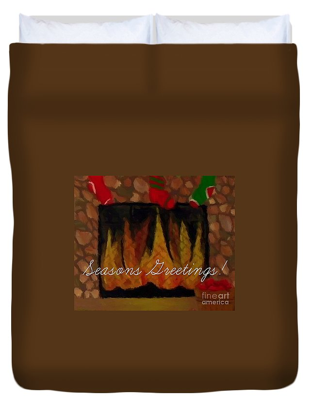 Barbara Griffin Duvet Cover featuring the painting Fireplace - Seasons Greetings by Barbara Griffin