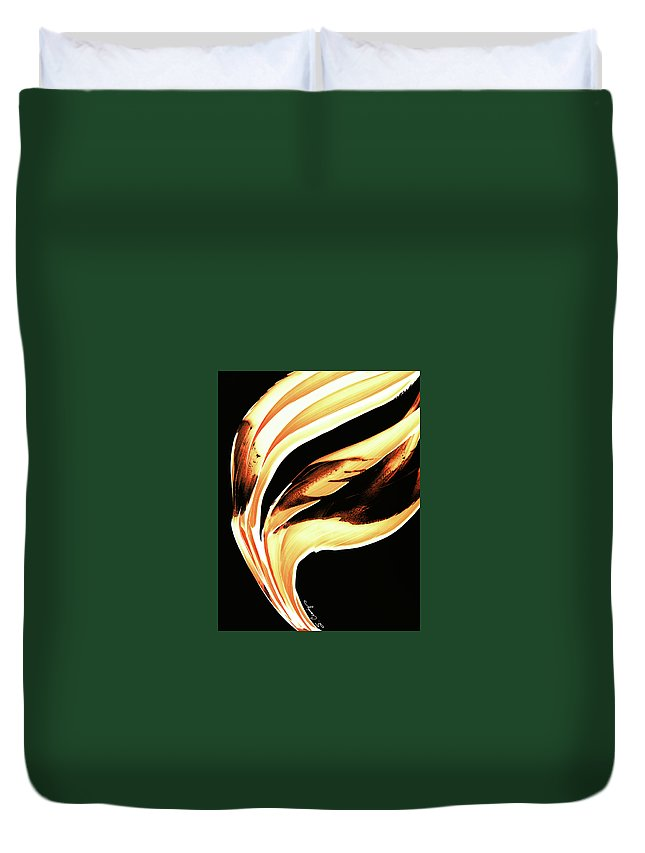 Sharon Cummings Duvet Cover featuring the painting Firewater 2 - Buy Orange Fire Art Prints by Sharon Cummings