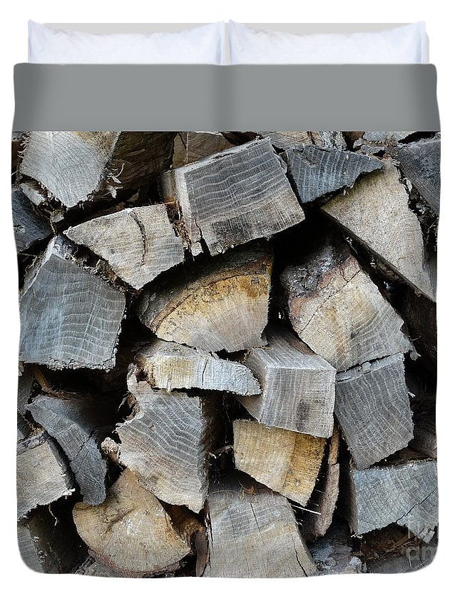Wood Duvet Cover featuring the photograph Firewood by Joseph Baril