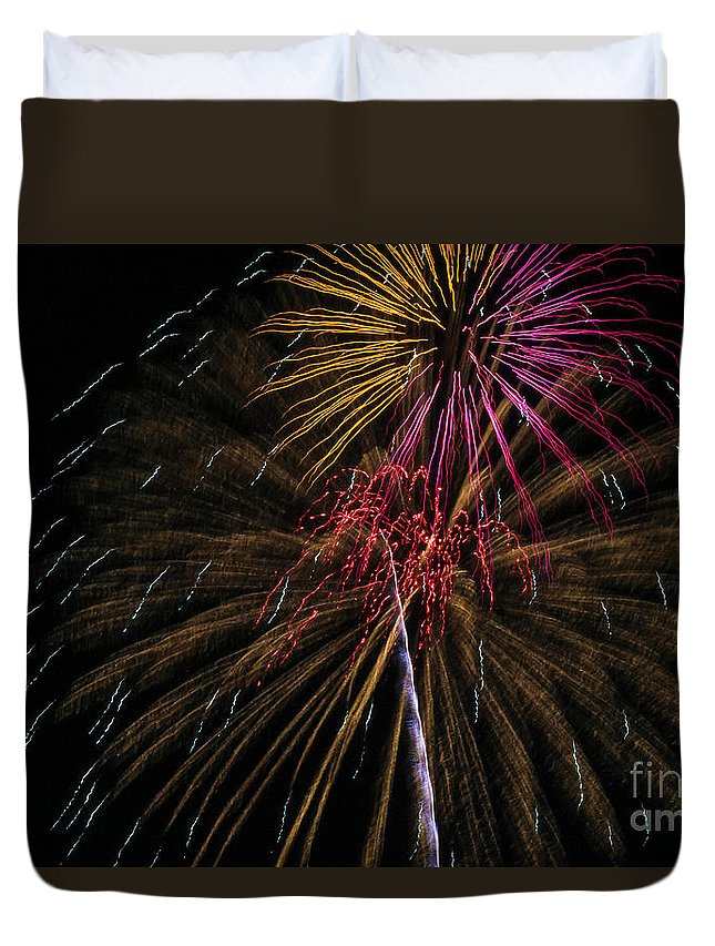 July 4th Duvet Cover featuring the photograph Fireworks 070414.213 by Ashley M Conger