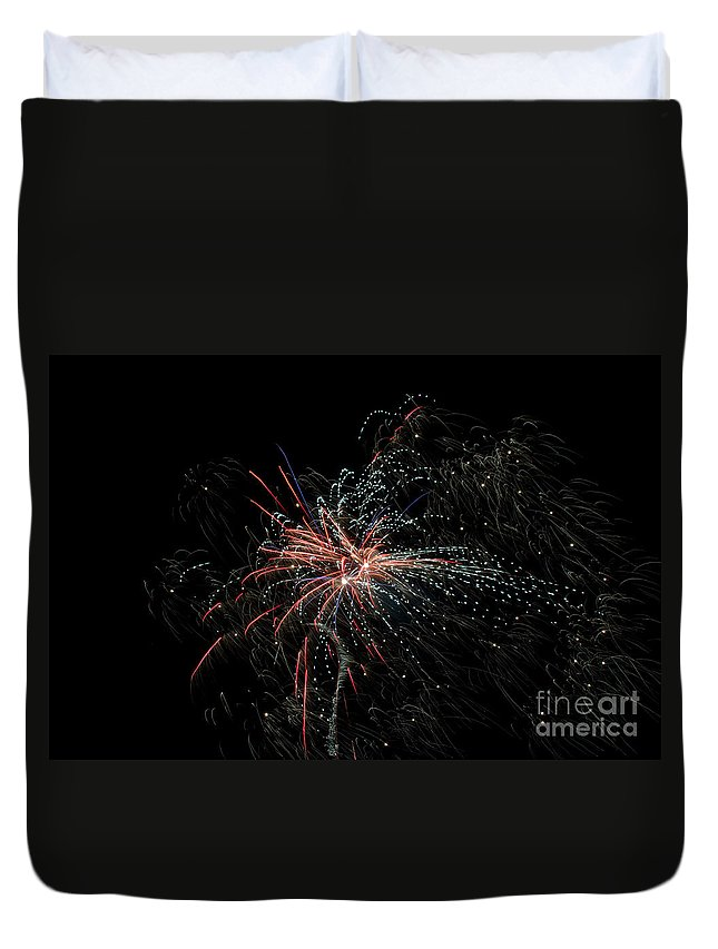 Ice Duvet Cover featuring the photograph Fireworks 15 by Cassie Marie Photography
