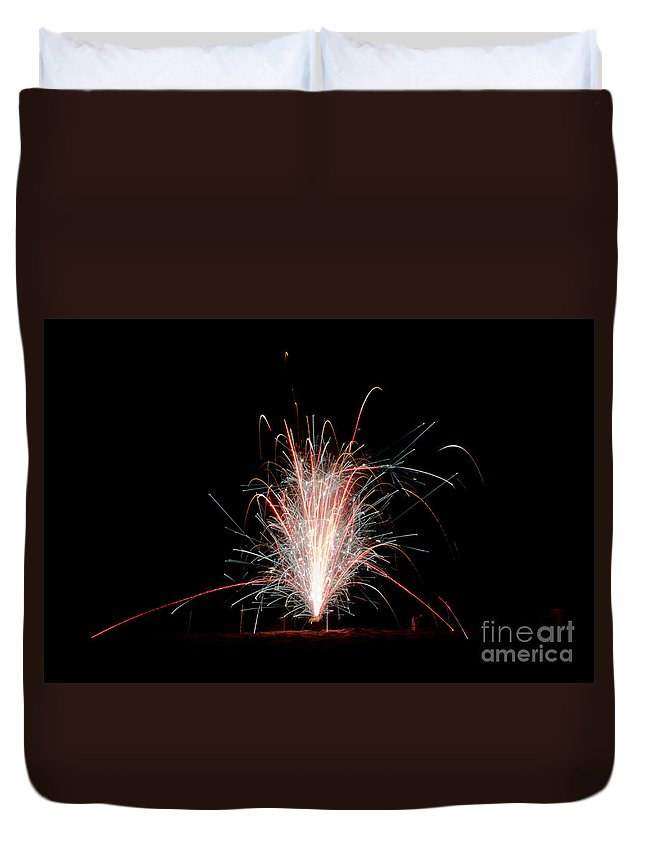 Ice Duvet Cover featuring the photograph Fireworks 24 by Cassie Marie Photography