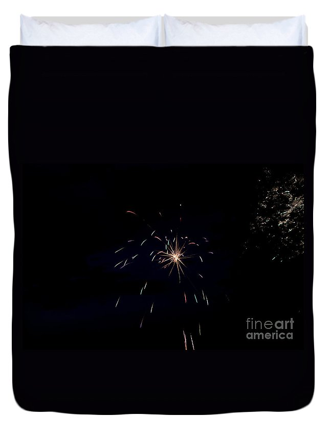 Ice Duvet Cover featuring the photograph Fireworks 28 by Cassie Marie Photography