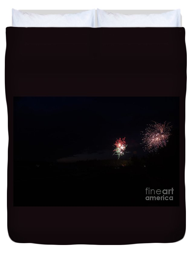 Ice Duvet Cover featuring the photograph Fireworks 37 by Cassie Marie Photography