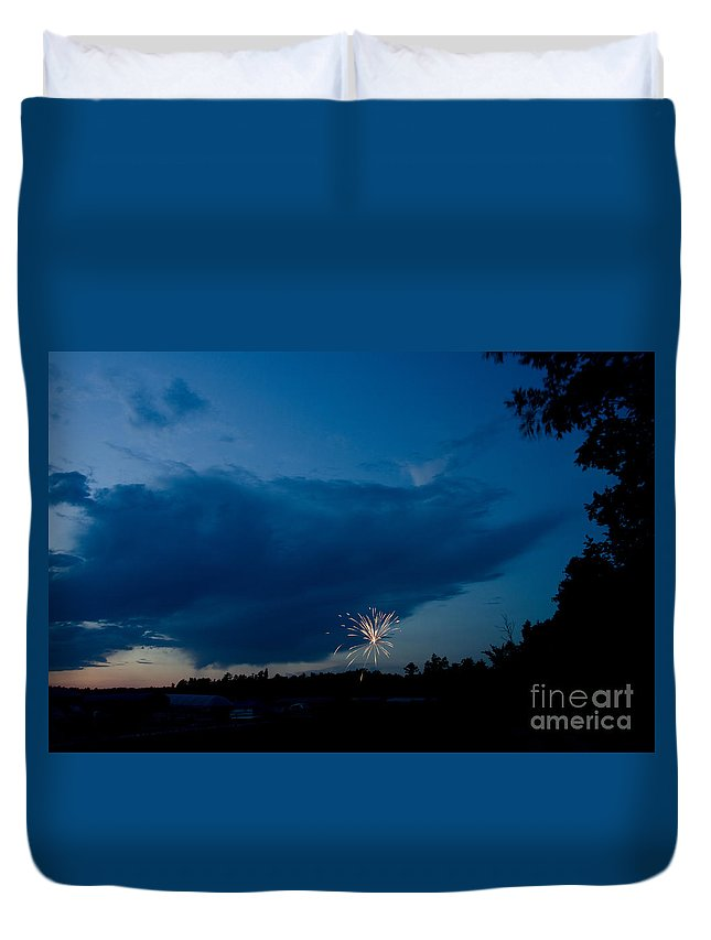 Ice Duvet Cover featuring the photograph Fireworks 4 by Cassie Marie Photography