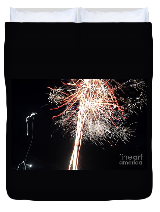 Ice Duvet Cover featuring the photograph Fireworks 45 by Cassie Marie Photography