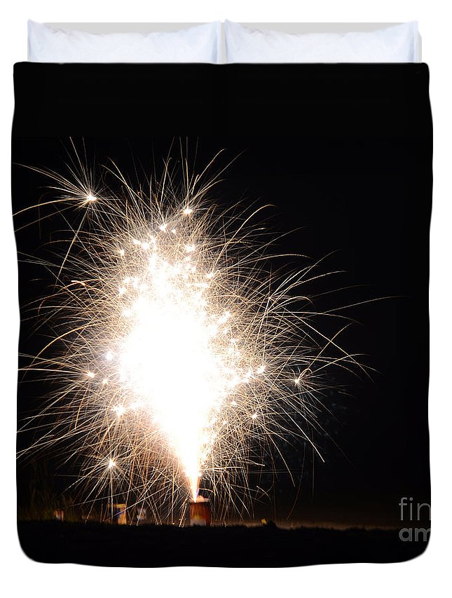 Ice Duvet Cover featuring the photograph Fireworks 46 by Cassie Marie Photography