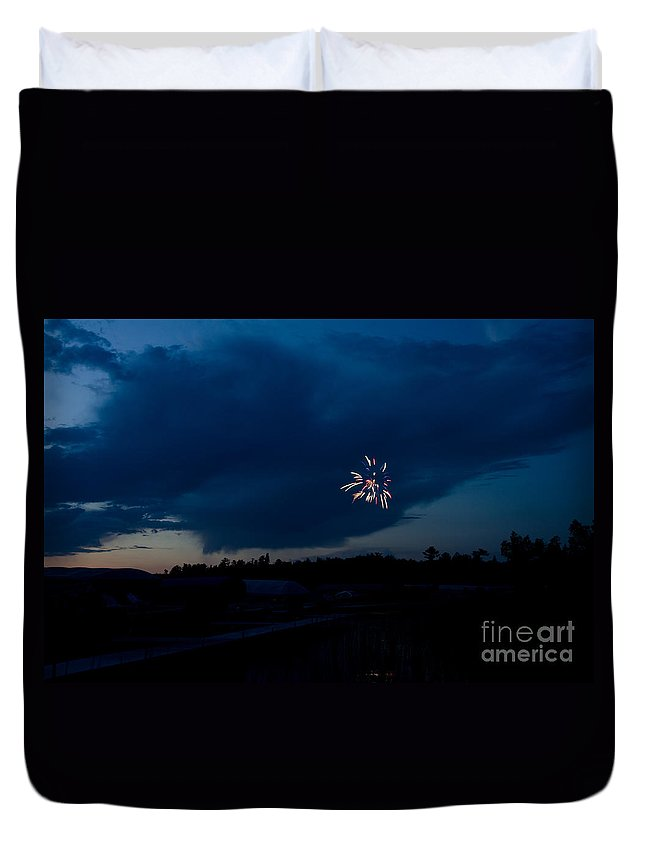 Ice Duvet Cover featuring the photograph Fireworks 5 by Cassie Marie Photography