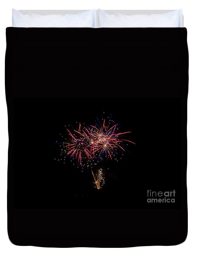 Ice Duvet Cover featuring the photograph Fireworks 52 by Cassie Marie Photography