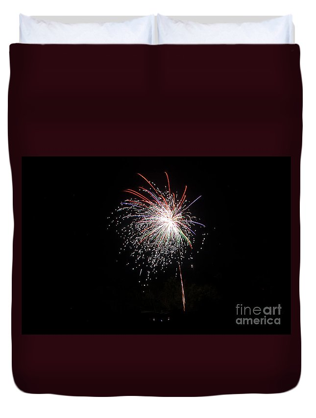 Ice Duvet Cover featuring the photograph Fireworks 53 by Cassie Marie Photography