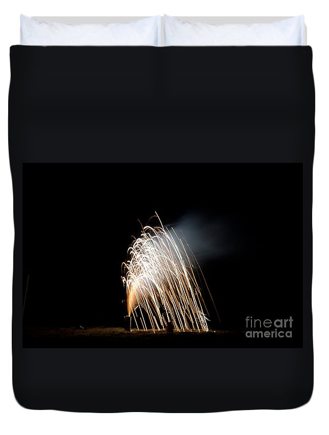 Ice Duvet Cover featuring the photograph Fireworks 8 by Cassie Marie Photography