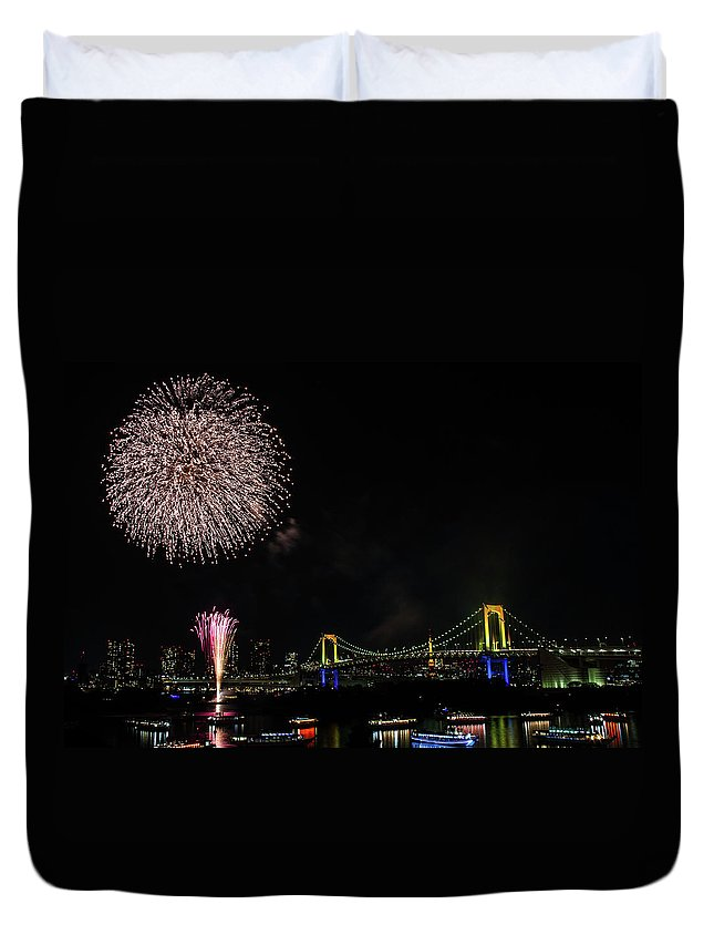 Firework Display Duvet Cover featuring the photograph Fireworks At Rainbow Bridge by ©alan Nee