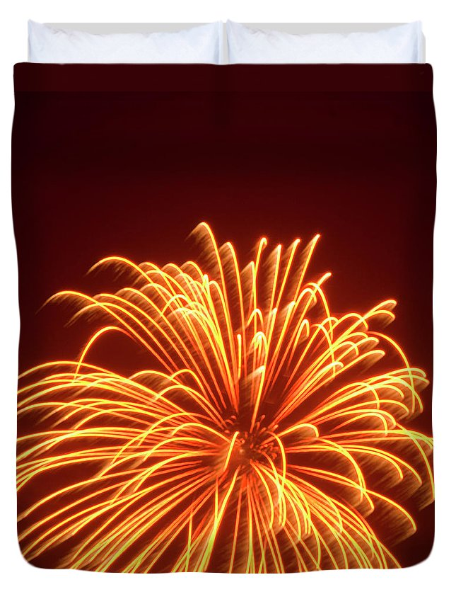 Orange Color Duvet Cover featuring the photograph Fireworks by Dennis Mccoleman