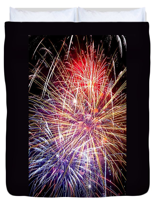 Fireworks Duvet Cover featuring the photograph Fireworks Finale by Weston Westmoreland